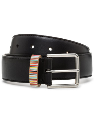 Multistripe Leather Keeper Belt