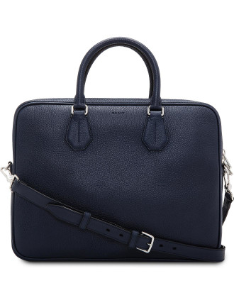 City Pebbled Leather Slim Shoulder Strap Briefcase