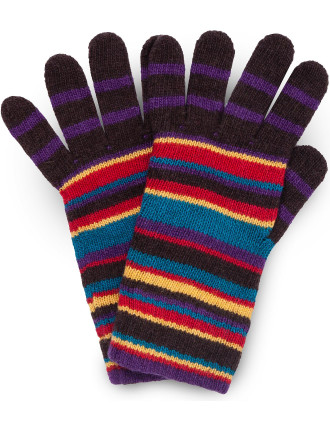 Multistripe Knitted Gloves