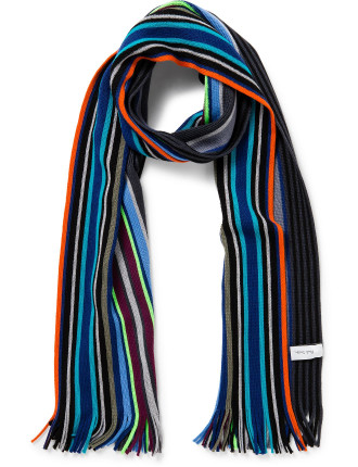 Knitted Multi Black Stripe Scarf