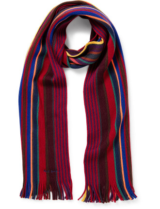 Knitted Multi Red Stripe Scarf