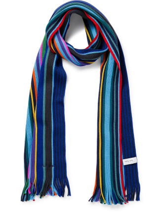 Knitted Multi Blue Stripe Scarf