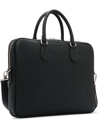 City Pebbled Leather Slim Briefcase W/ Shoulder Strap