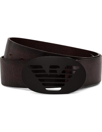 Leather Jean Belt W/ Oval Logo Plate Buckle