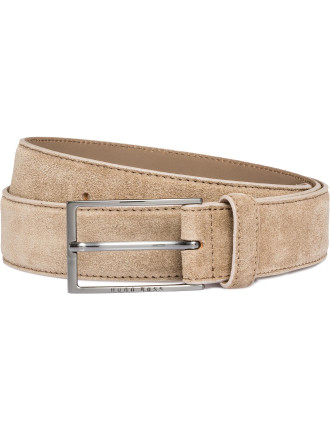 Calindo Suede Pin Buckle Belt W/ Stitch Edge