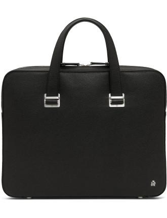 Bourdon Grained Leather Single Zip Slim Briefcase