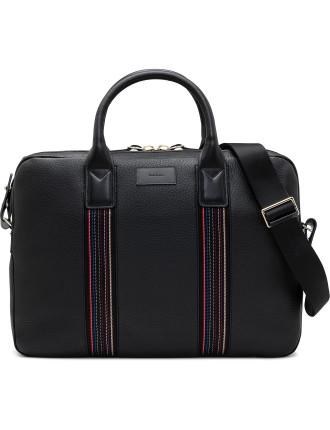 City Webbing Pebbled Leather Slim Briefcase W Stripe Strap
