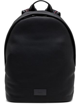 City Webbing Pebbled Leather Backpack W Stripe Strap
