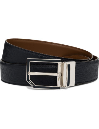 Printed Leather Smart Casual Belt W/Corner Polished Buckle