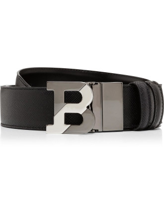 Printed Leather Jean Belt W/ Polished B Buckle