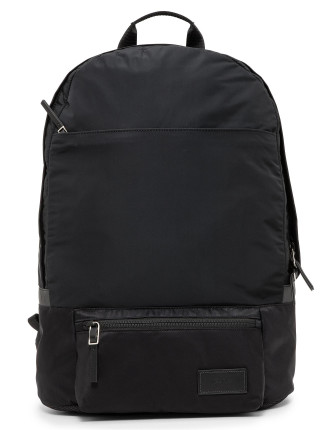 Nylon Backpack W/ Leather Trim