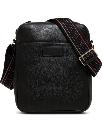City Webbing Pebbled Leather N/S Reporter Bag