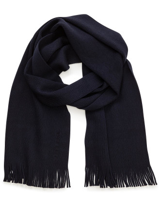 Albas Wool Knitted Fringed Scarf