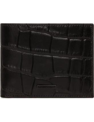 Croc Printed Leather 8cc Billfold