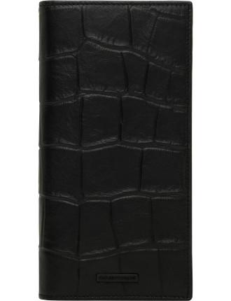 Croc Printed Leather 8cc Vertical Coat Wallet