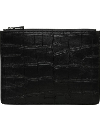 Croc Printed Leather Zip Pouch