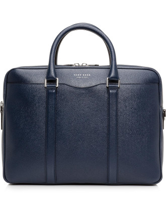 Signature Embossed Leather Single Zip Briefcase
