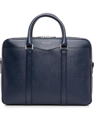 Signature Embossed Leather Single Zip Briefcase