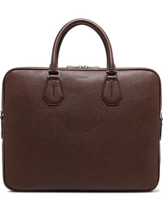 City Pebbled Leather Slim Briefcase W/ Shoulder Strap