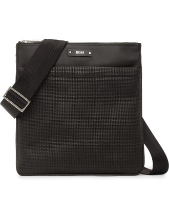 Traveller B Stamped Woven Leather Cross Body Bag