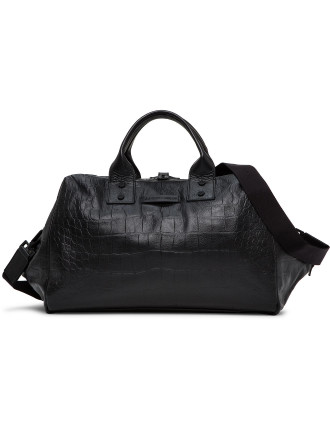 Croc Printed Leather Duffle Bag