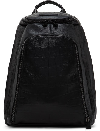 Croc Printed Leather Backpack