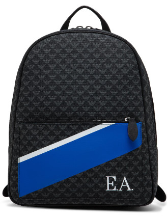 All Over Pvc Logo Backpack W/ Painted Stripe