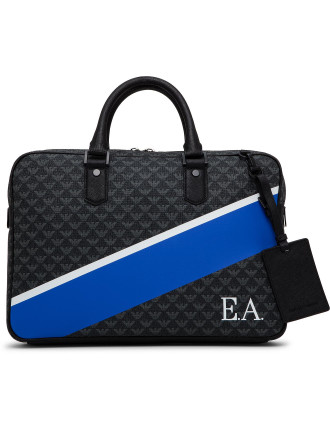 All Over Pvc Logo Single Zip Briefcase W/ Painted Stripe