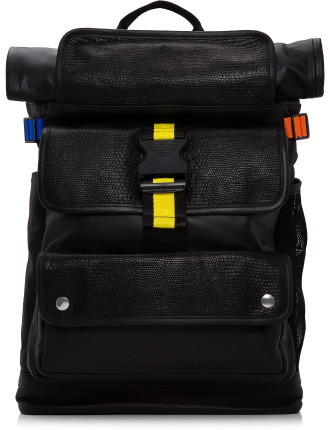 Nylon And Leather Backpack W/ Multicoloured Straps