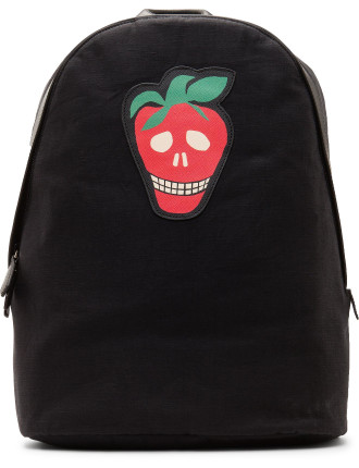 Strawberry Skull Leather Patch Backpack
