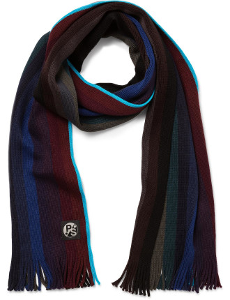 100% Wool Gradient Wool Knitted Stripe Scarf