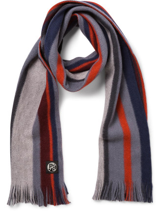 100% Wool Reversible Wool Knitted Stripe Scarf