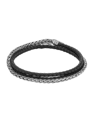Classic Chain Wrap Bracelet in Silver and Leather