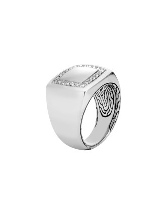 Classic Chain Signet Ring in Silver with Diamonds
