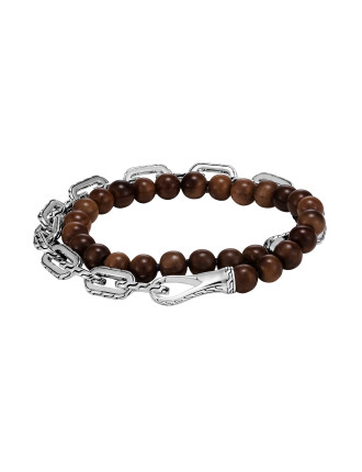 Classic Chain Wrap Bracelet in Silver with Wood