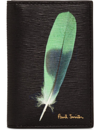 Credit Card Wallet W/ Exterior Printed Feathers