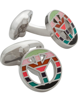 Peace Sign Multistripe Cufflink