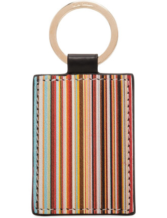 Leather Multistripe Printed Key Ring