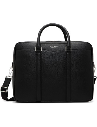 Signature Embossed Leather Double Zip Briefcase