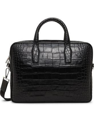 Elite Croc Embossed Leather Single Zip Briefcase