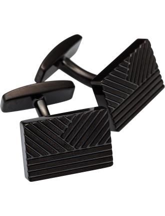 Kai Black Ip Recatangular Pattern Cufflink