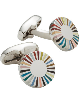 Multistripe Round Edge Cufflinks