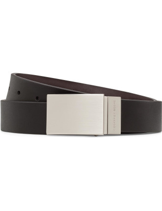 Brushed Plate Buckle Twist Revesible Belt