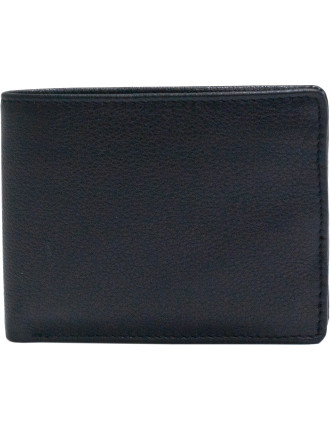 Pebbled Leather 9 Credit Card Wallet With Zip Coin Pouch