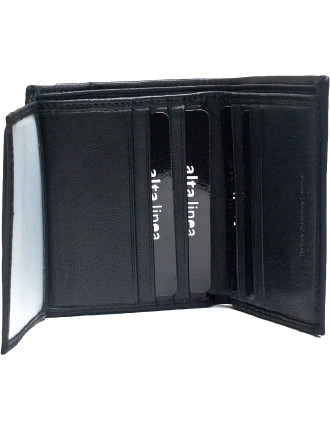 Cut & Sew Section Vertical Wallet 12 Credit Card Wallet With Id Window
