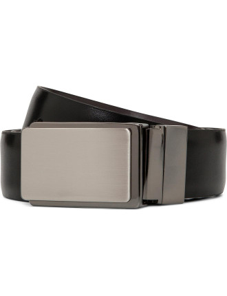 REVERSIBLE BELT WITH PLATE BUCKLE