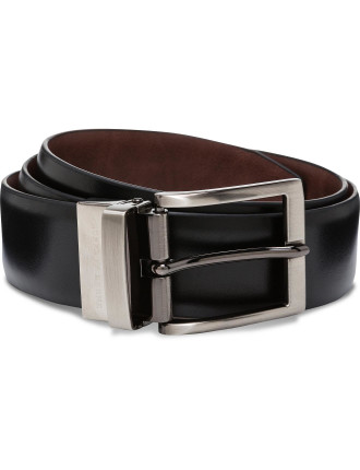 Reversible Brushed Gun Metal Buckle, PU/Bond/PU strap