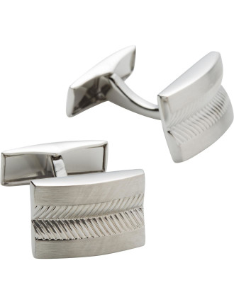 Shiny , brushed rhodium cufflink, with textured emboss