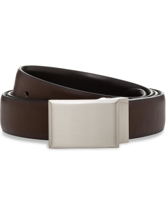 PLATE BUCKLE REVERSIBLE BELT