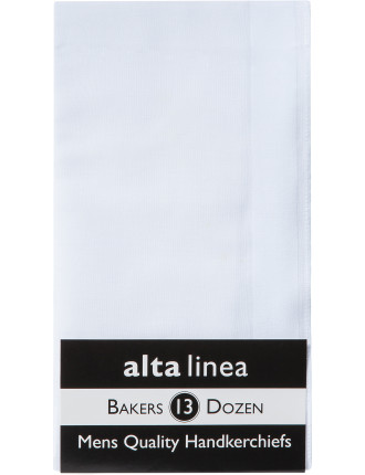 Executive Bakers Dozen White Handkerchiefs